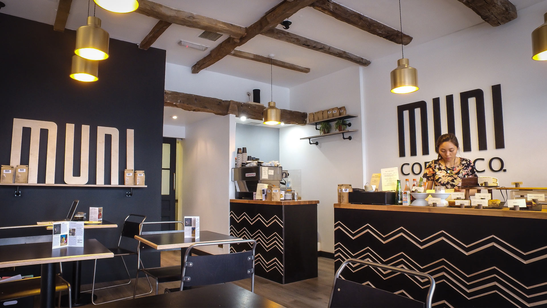 Muni coffee shop brand experience design liqui design Interior design stores london