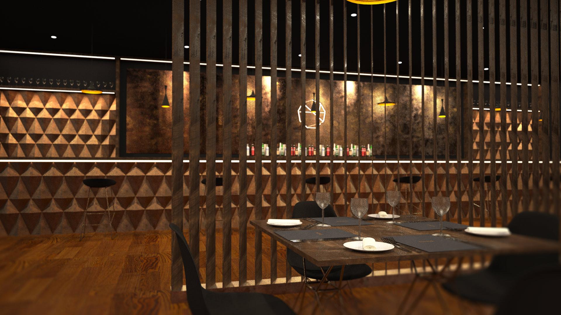 Nine luxury restaurant interior liqui