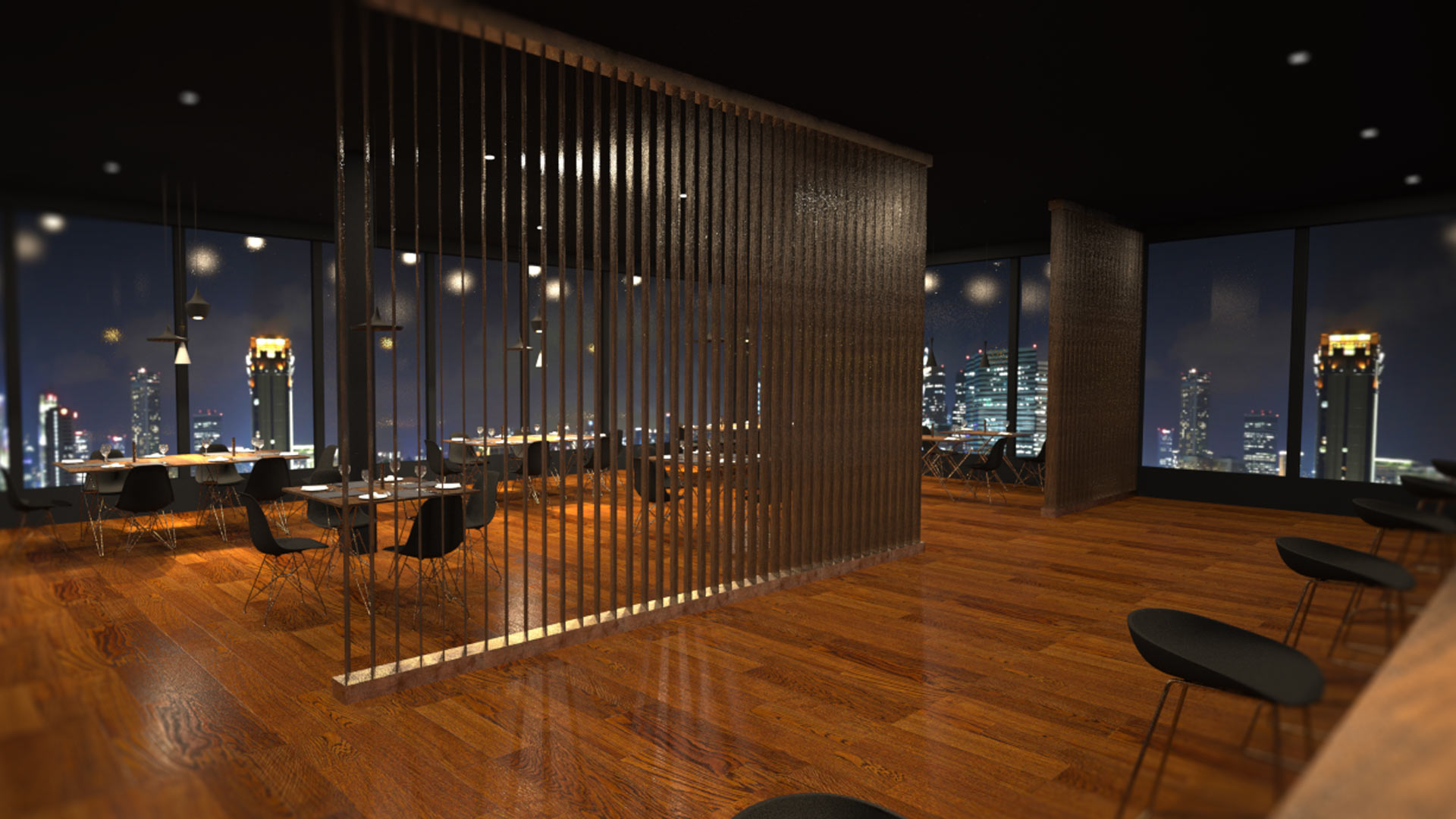 Nine luxury restaurant interior liqui