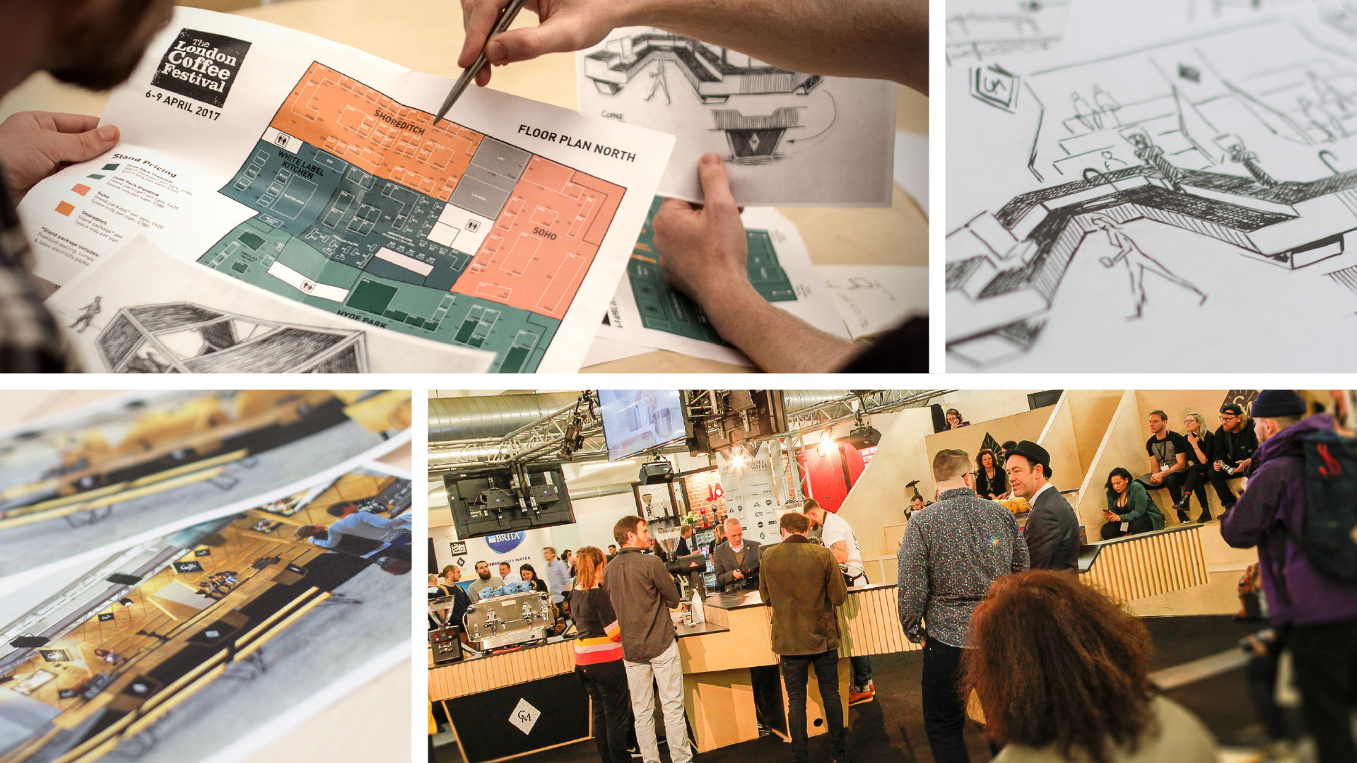 Liqui Events Design - concept to reality montage showing floor plan, sketch render and photos of - London Coffee Festival.