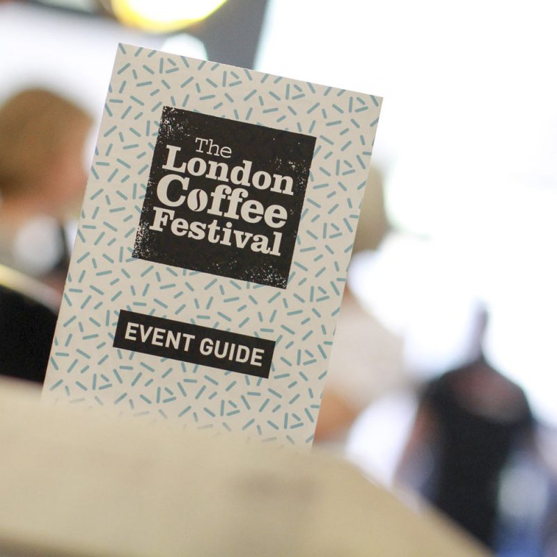 Close up of London Coffee Festival Event Guide - Liqui Events - Exhibition Design
