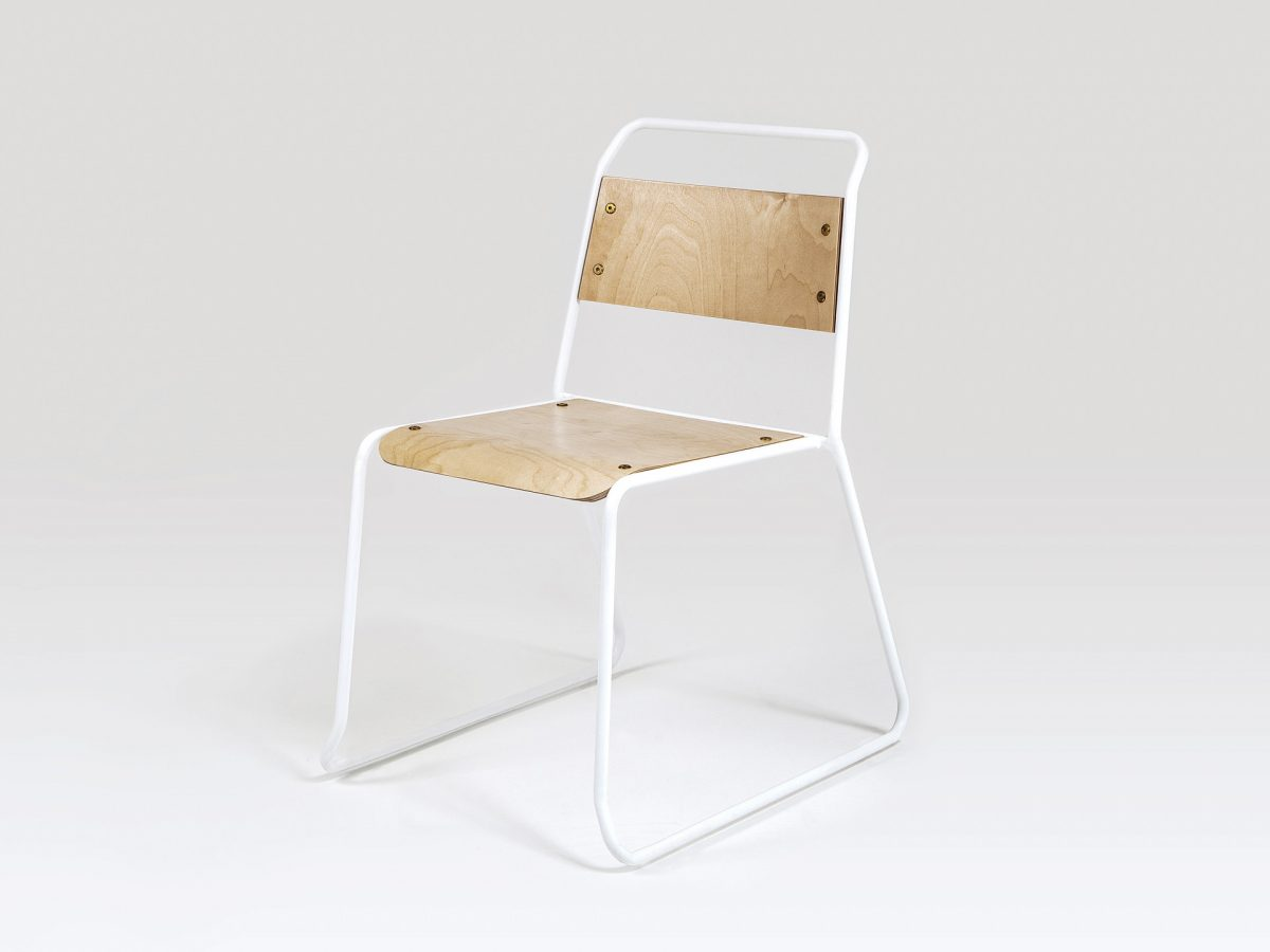 Liqui Contract Trapeze Chair - Full view showing powder coated stainless steel tubular frame in white with sustainably sourced Birch ply seat and back.