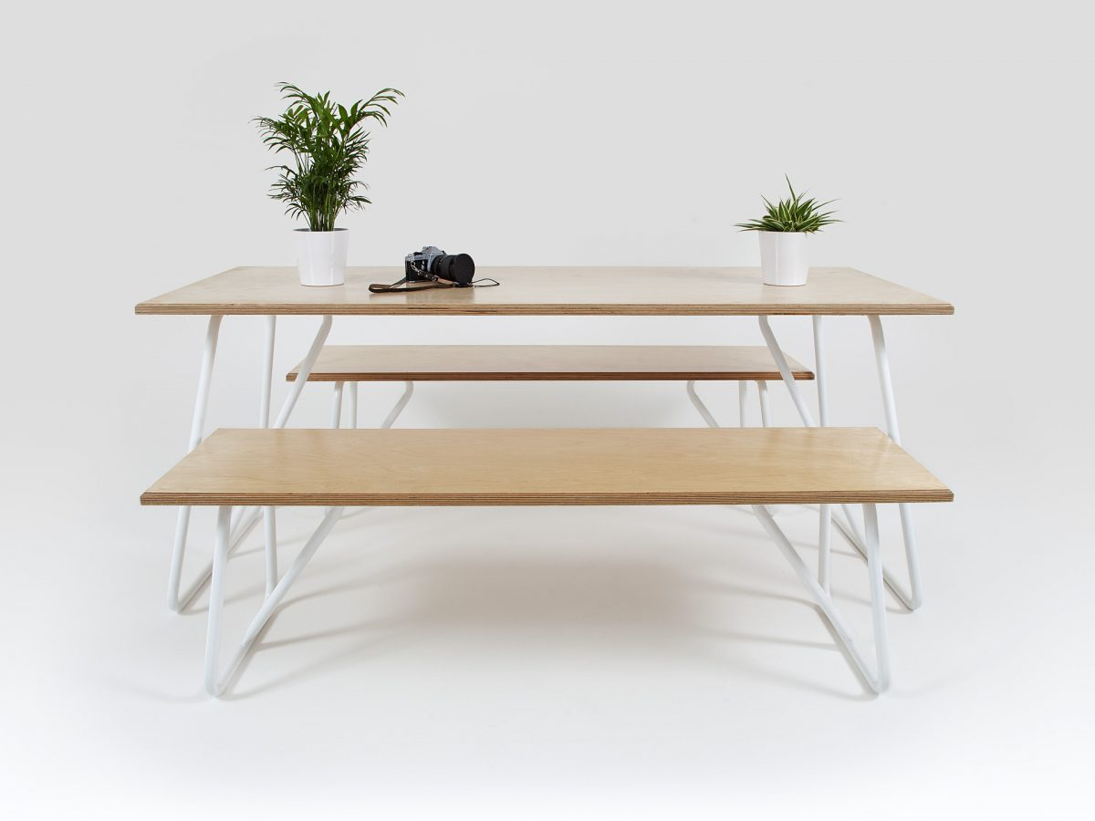 Liqui Contract Bench - Trapeze Benches with Trapeze Table - Sustainably sourced Birch Ply & powder coated steel