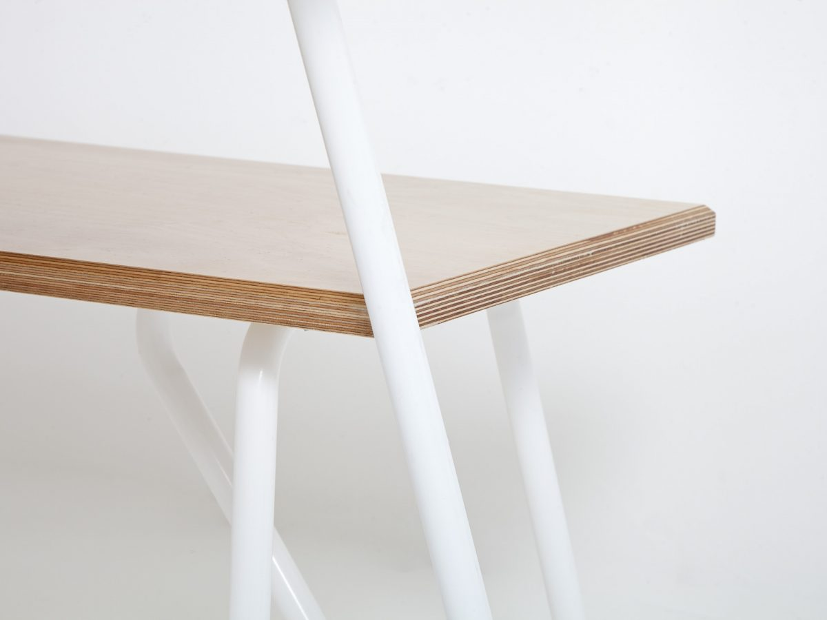 Liqui Contract Bench - Close up Trapeze Bench seat and legs - Sustainably sourced Birch Ply & powder coated steel